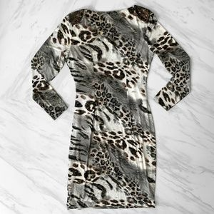 Cache Dresses - Cache Long Sleeved Animal Print Dress